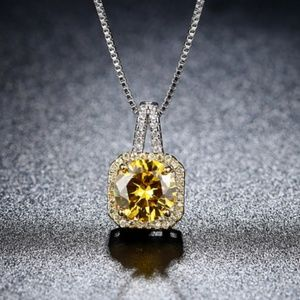 Luxury  Yellow Champagne Simple Square CZ Necklace
